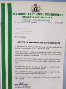 Yellow fever vaccination in Delta